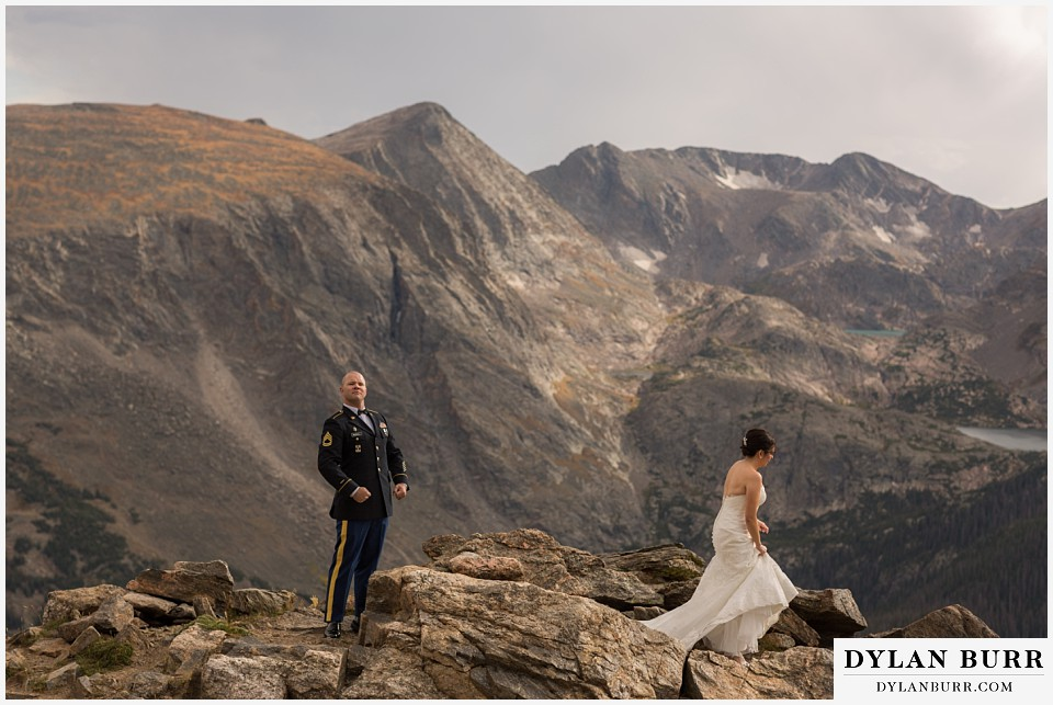 rocky mountain national park wedding colorado groom being goofy huge mountain view
