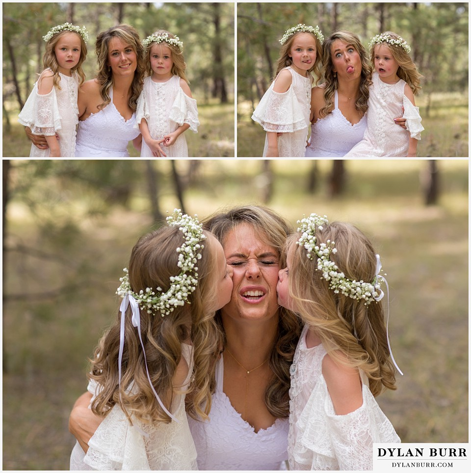boho backyard colorado wedding bride being silly with daughters