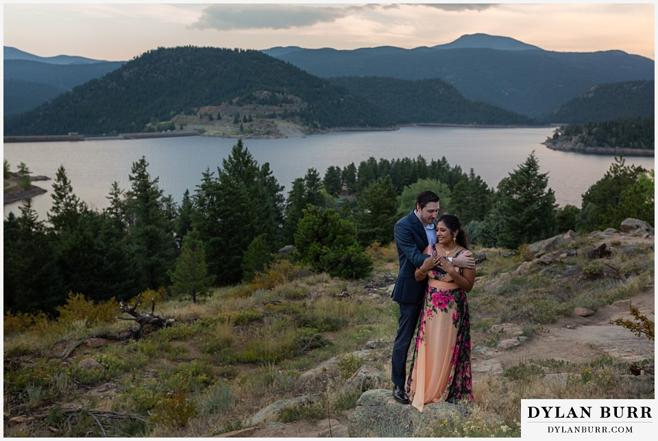 boulder colorado engagement session in the mountains gross reservoir at sunset