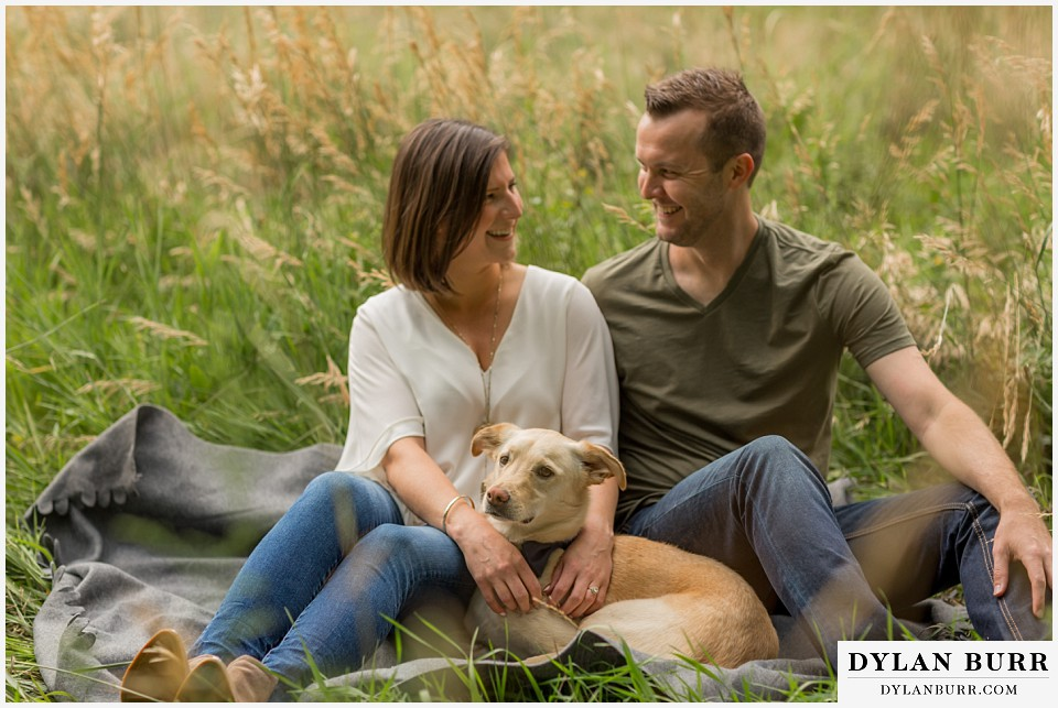 boulder wedding engagement session sitting in grass