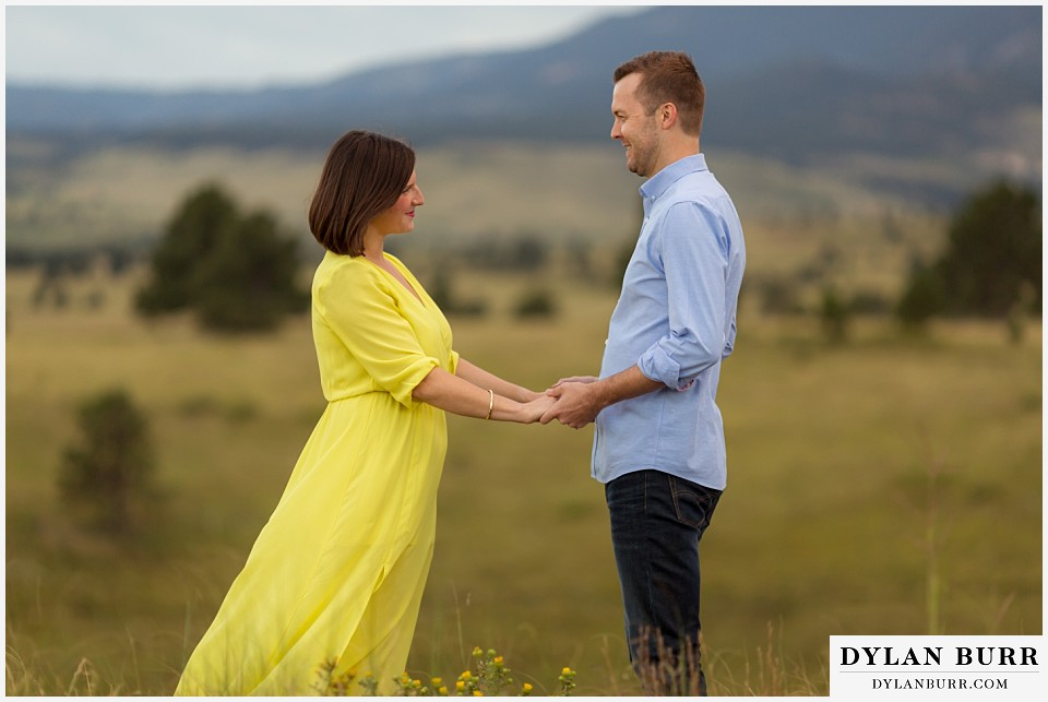 boulder wedding engagement session in field