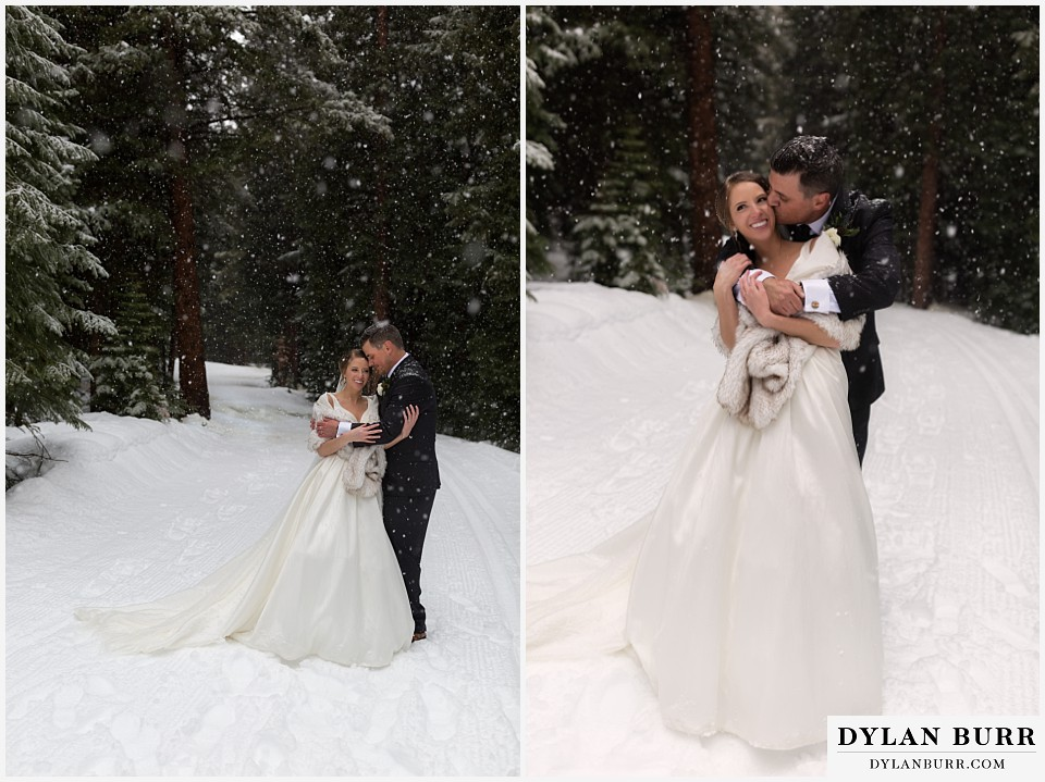 breckenridge nordic center wedding colorado mountain wedding photographer couple hugging and lauging in falling snow