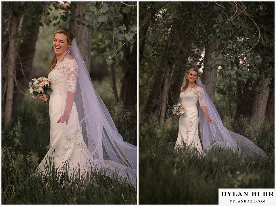 colorado bridal portrait session bride laughing with long veil