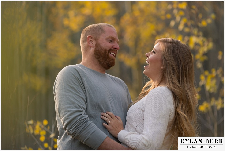 colorado mountain engagement session golden leaves in fall