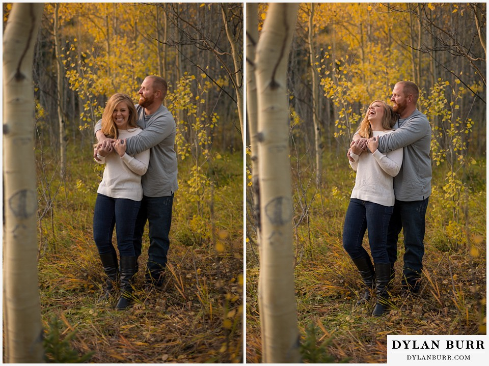 colorado mountain engagement session laughter