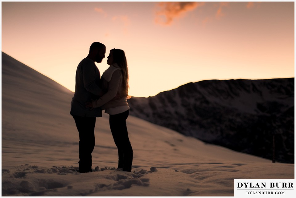 colorado mountain engagement session sunset silhouette