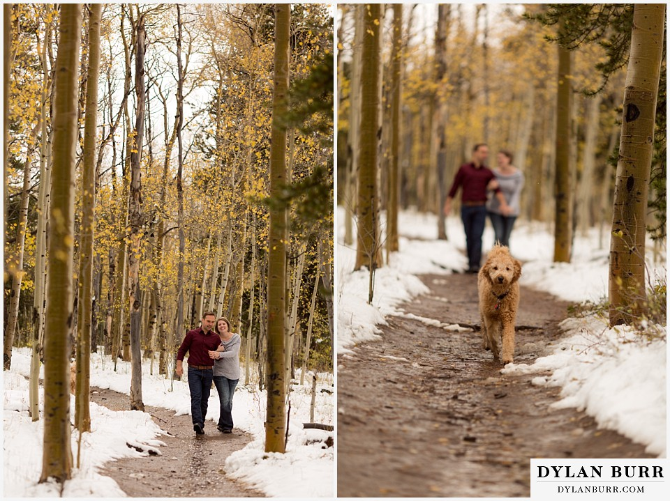 colorado mountain engagement session walking together on snowy trail