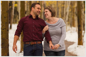 snowy fall colorado mountain engagement session