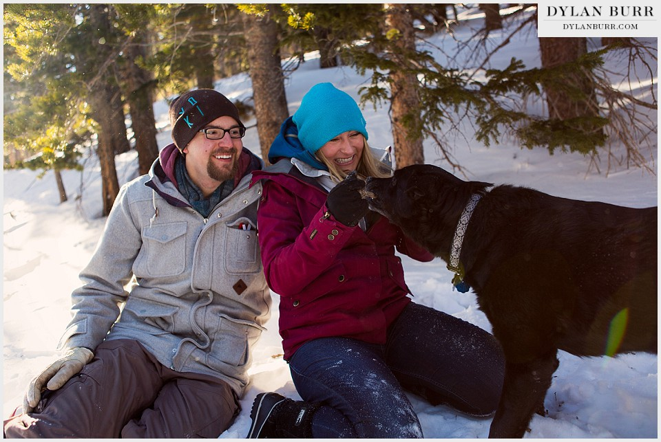 colorado mountain engagement photos black lab
