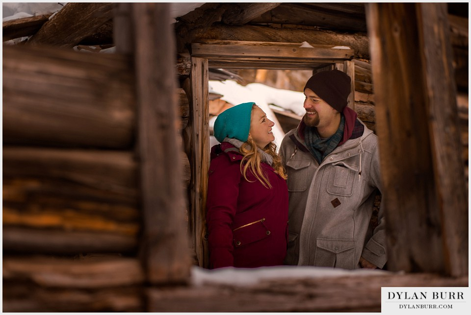 colorado mountain engagement photos old mining cabin