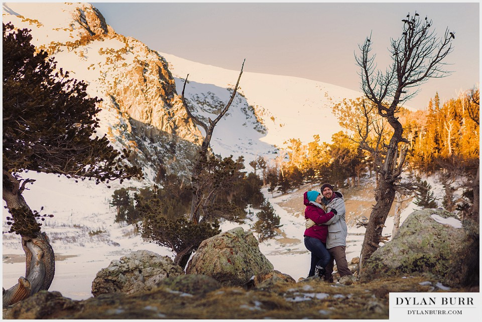 colorado mountain engagement photos winter glacier hike