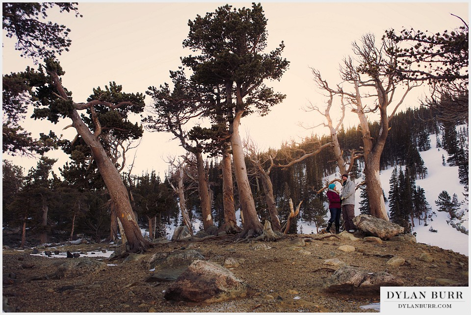colorado mountain engagement photos winter glacier magic hour