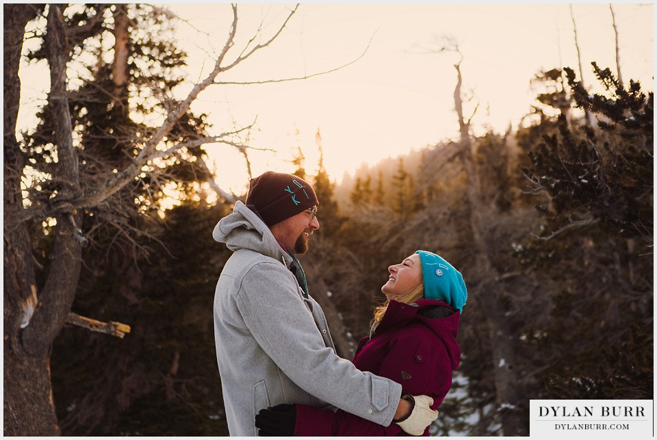 colorado mountain winter engagement photos