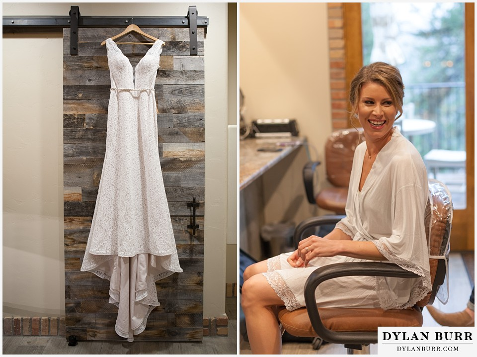 della terra wedding estes park colorado mountain wedding bride getting ready wedding dress