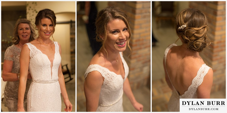 della terra wedding estes park colorado mountain wedding bride getting into dress