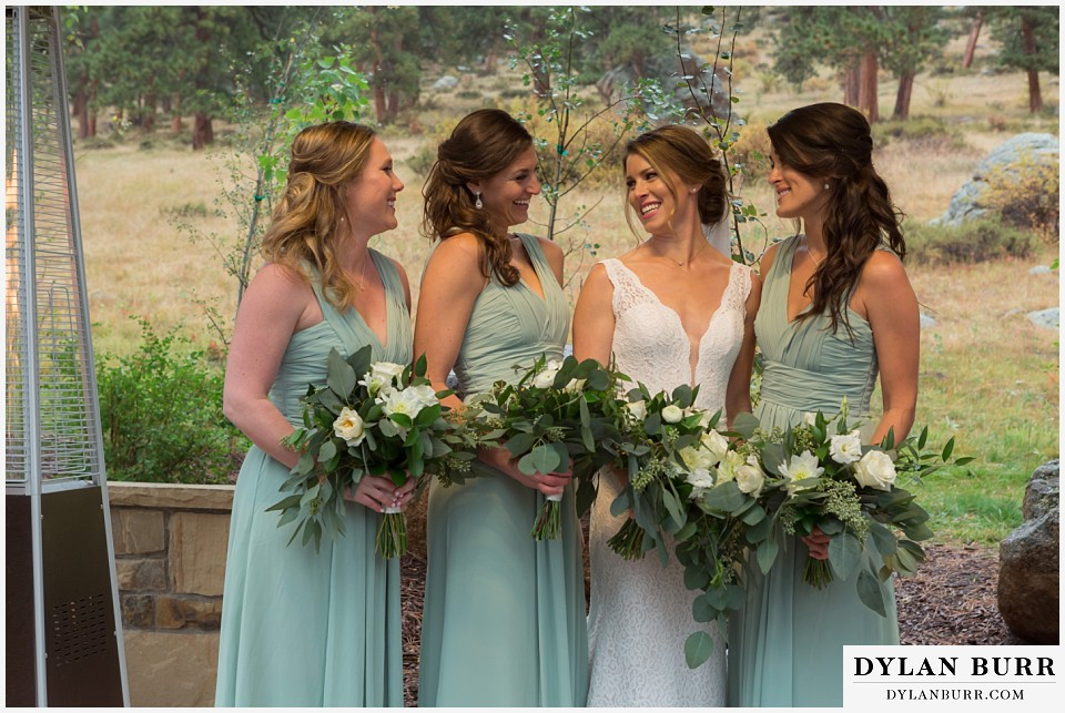 della terra wedding estes park colorado mountain wedding bridemaids with bride