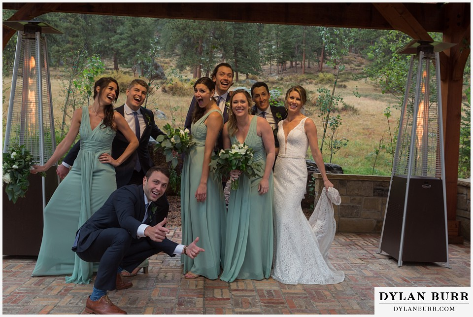 della terra wedding estes park colorado mountain wedding goofy bridal party photos