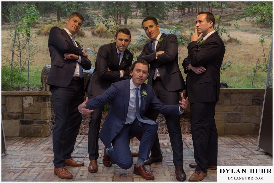 della terra wedding estes park colorado mountain wedding fun groomsmen photos