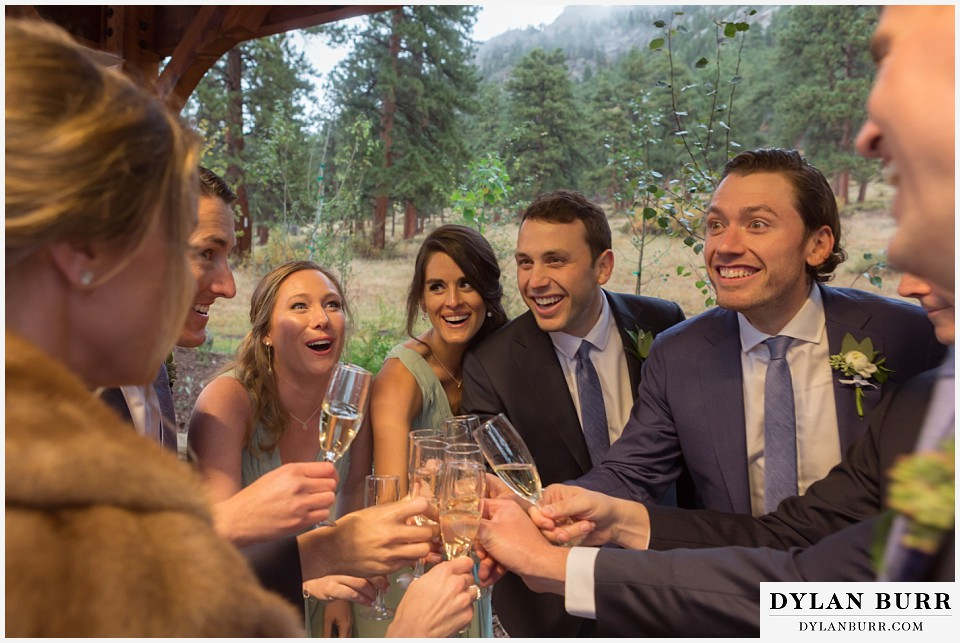 della terra wedding estes park colorado mountain wedding bridal party toast