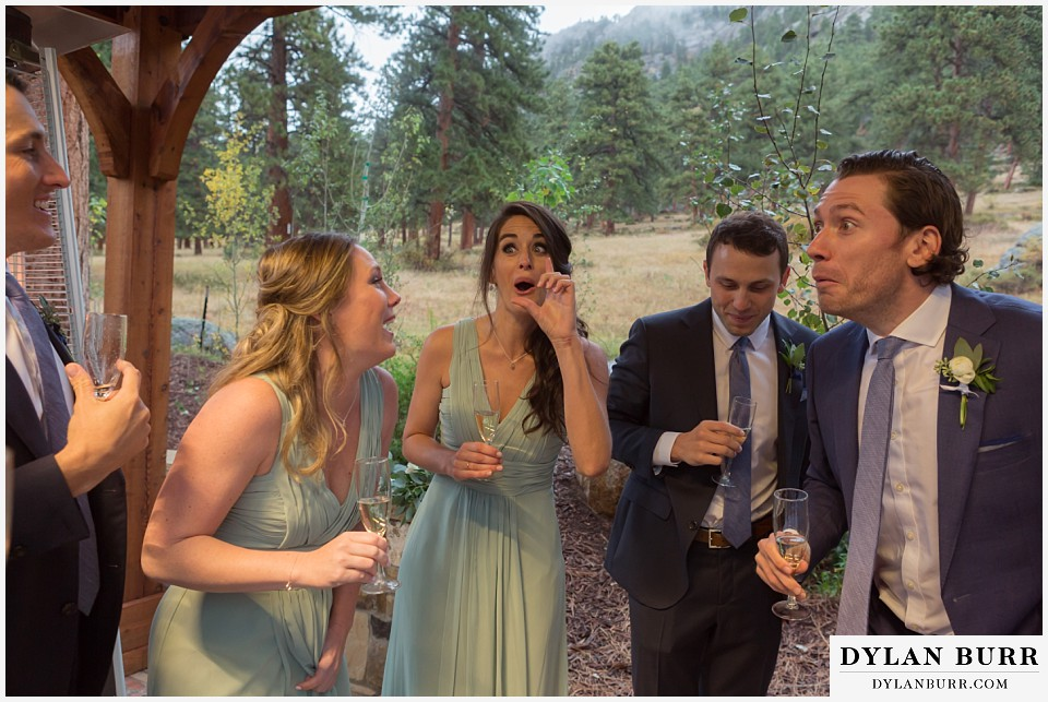 della terra wedding estes park colorado mountain wedding bridal party funny toast