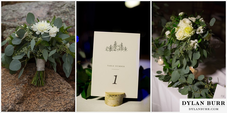 della terra wedding estes park colorado mountain wedding table markers eucalyptus bouquet
