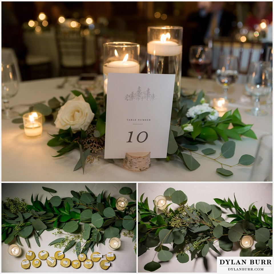 della terra wedding estes park colorado mountain wedding table settings aspen eucalyptus garland