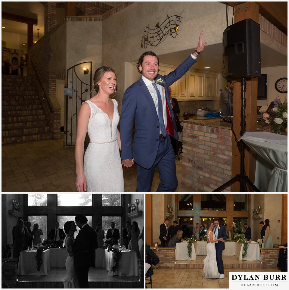 della terra wedding estes park colorado mountain wedding reception venue couples entrance