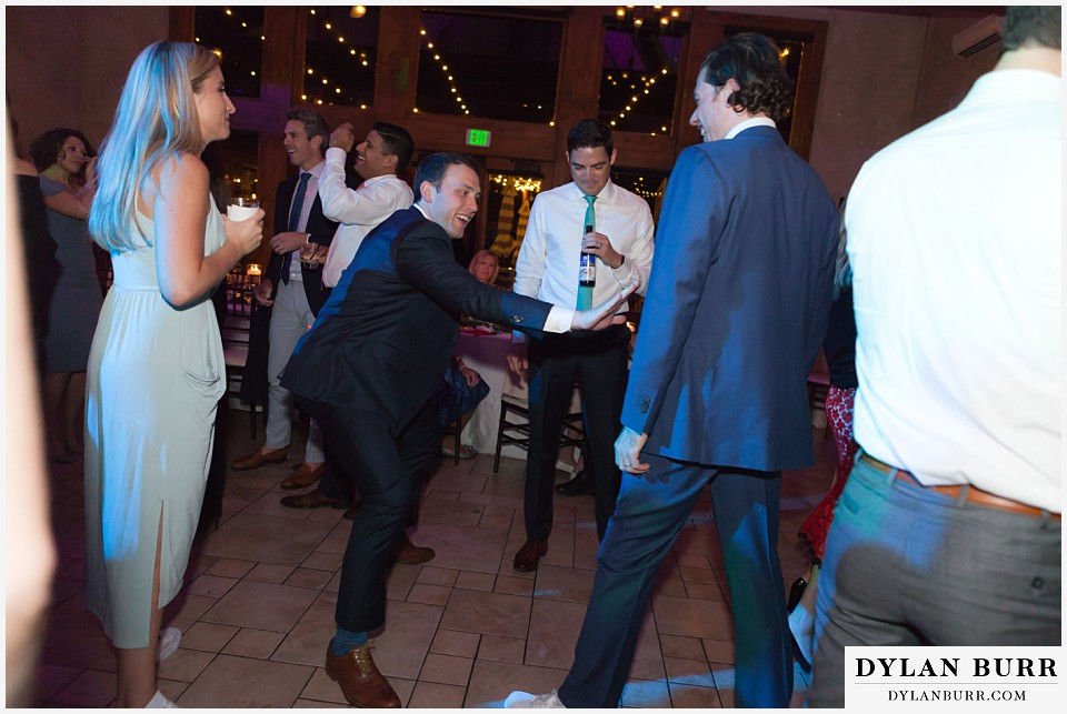 della terra wedding estes park colorado mountain wedding best man dancing with groom