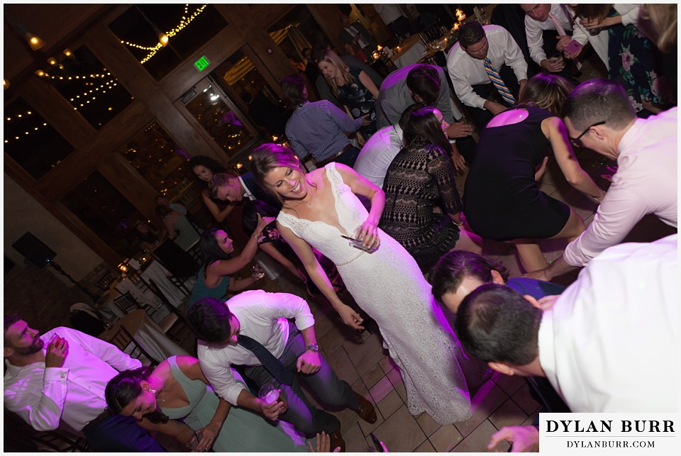 della terra wedding estes park colorado mountain wedding bride dancing