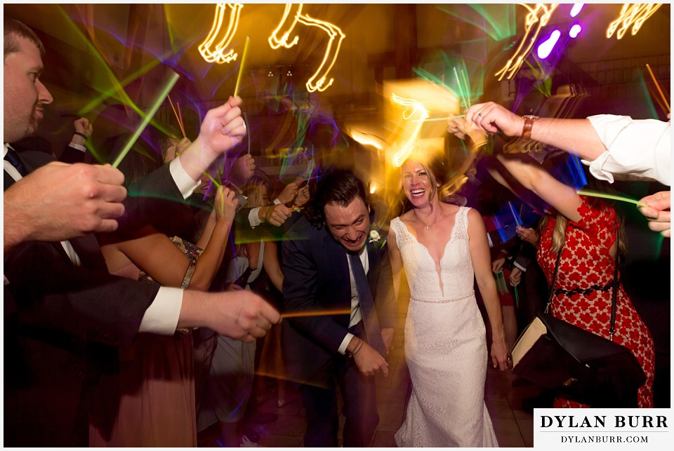della terra wedding estes park colorado mountain wedding glow stick grand exit