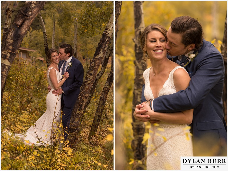 della terra wedding estes park colorado mountain wedding couple kissing in the aspens