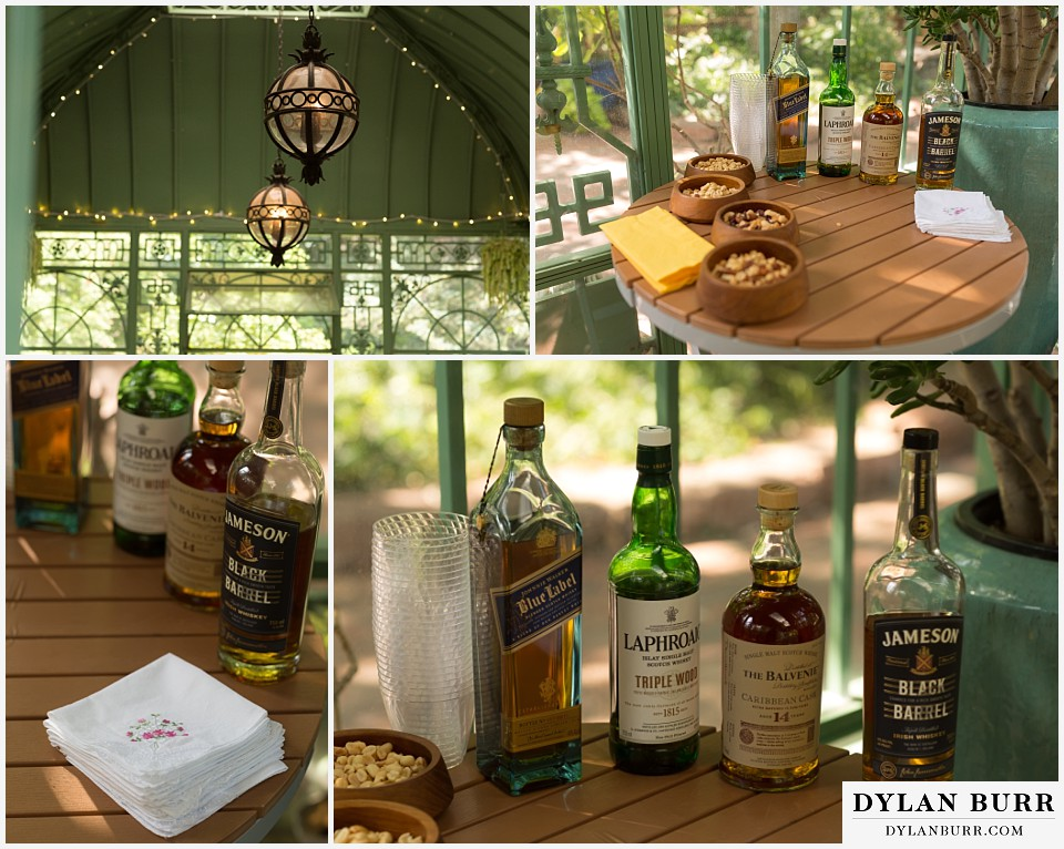 denver botanic gardens wedding colorado woodland mosaic wedding details johnny walker blue scotch balvenie laphroaig jameson black barrel