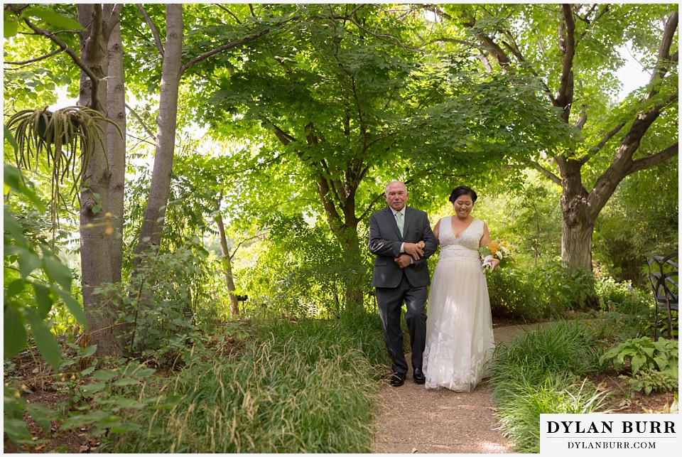 denver botanic gardens wedding colorado woodland mosaic bride walking with father down aisle