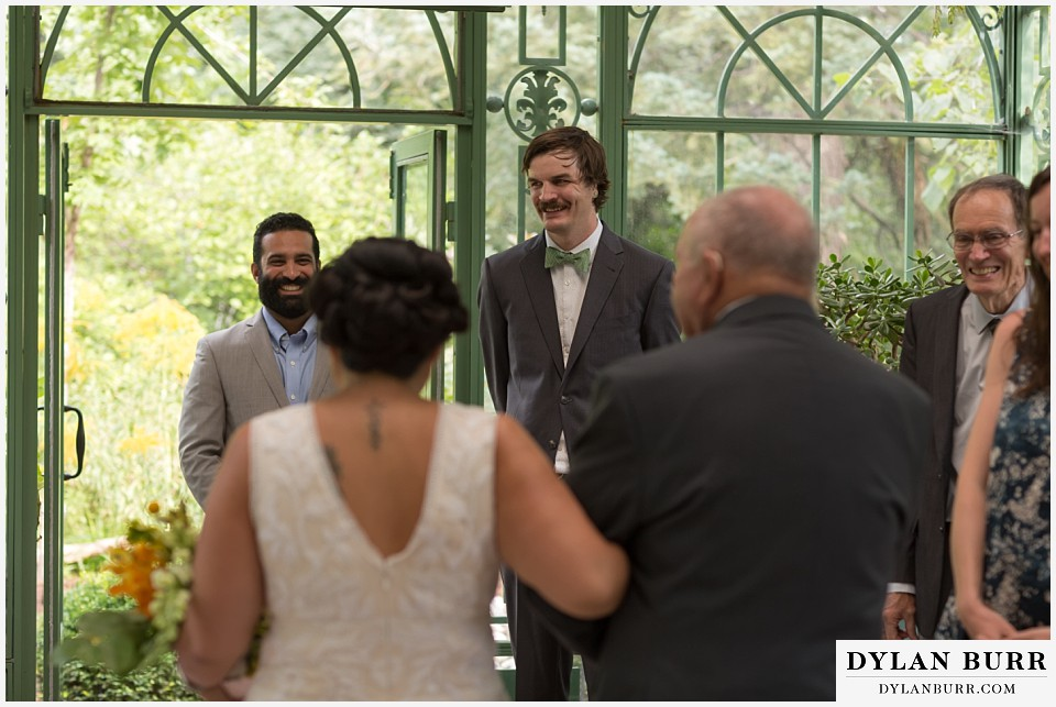 denver botanic gardens wedding colorado woodland mosaic happy excited groom