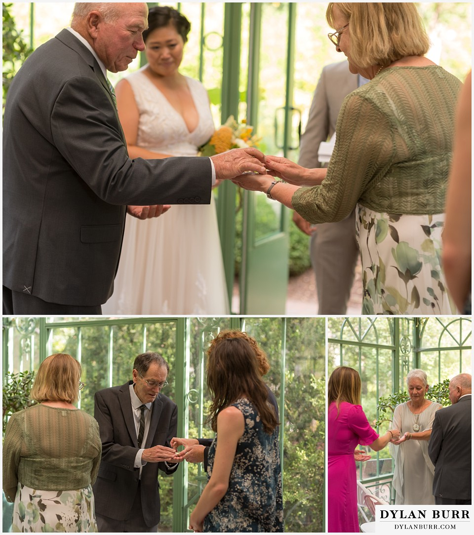 denver botanic gardens wedding colorado woodland mosaic passing rings around during wedding ceremony