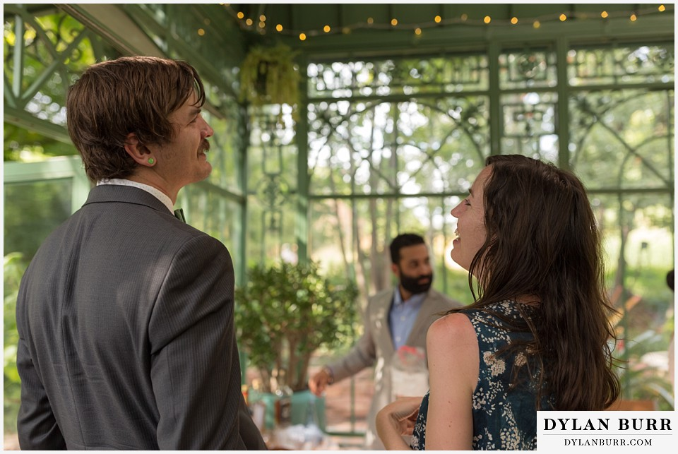 denver botanic gardens wedding colorado woodland mosaic groom and sister laughing