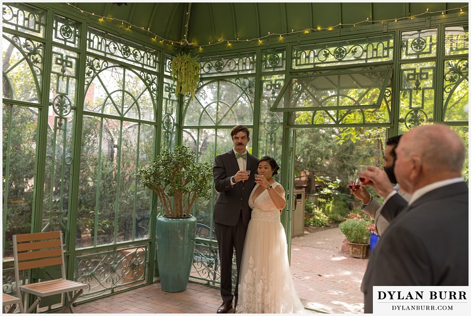 denver botanic gardens wedding colorado woodland mosaic bride groom wedding toast