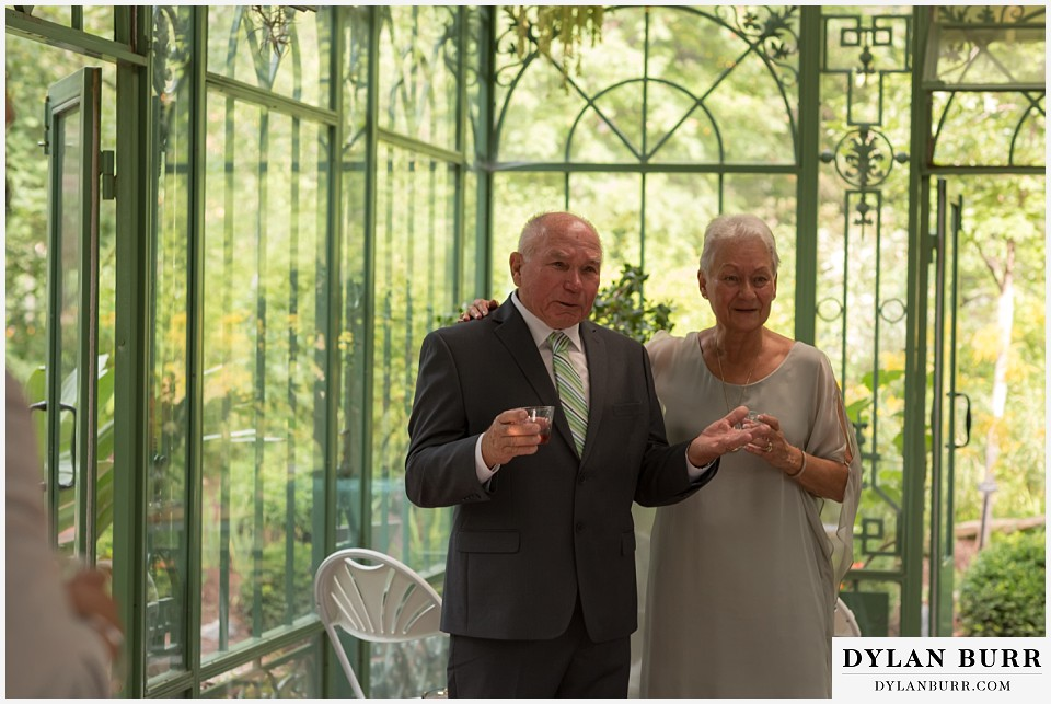 denver botanic gardens wedding colorado woodland mosaic brides parents toasting