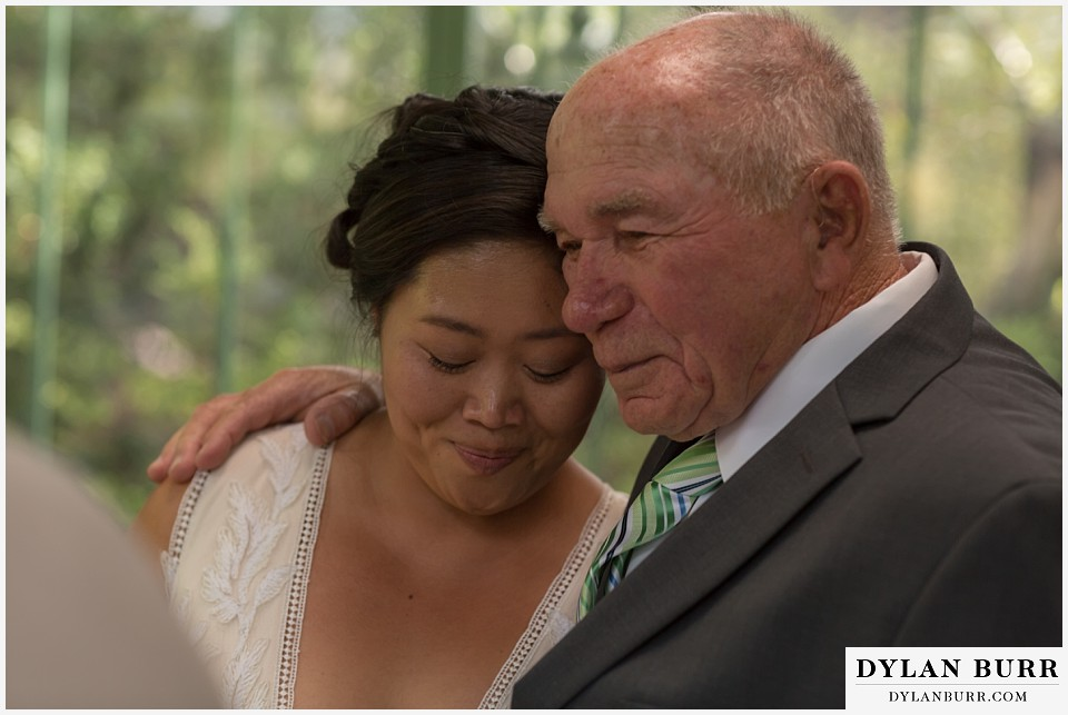denver botanic gardens wedding colorado woodland mosaic bride and her father
