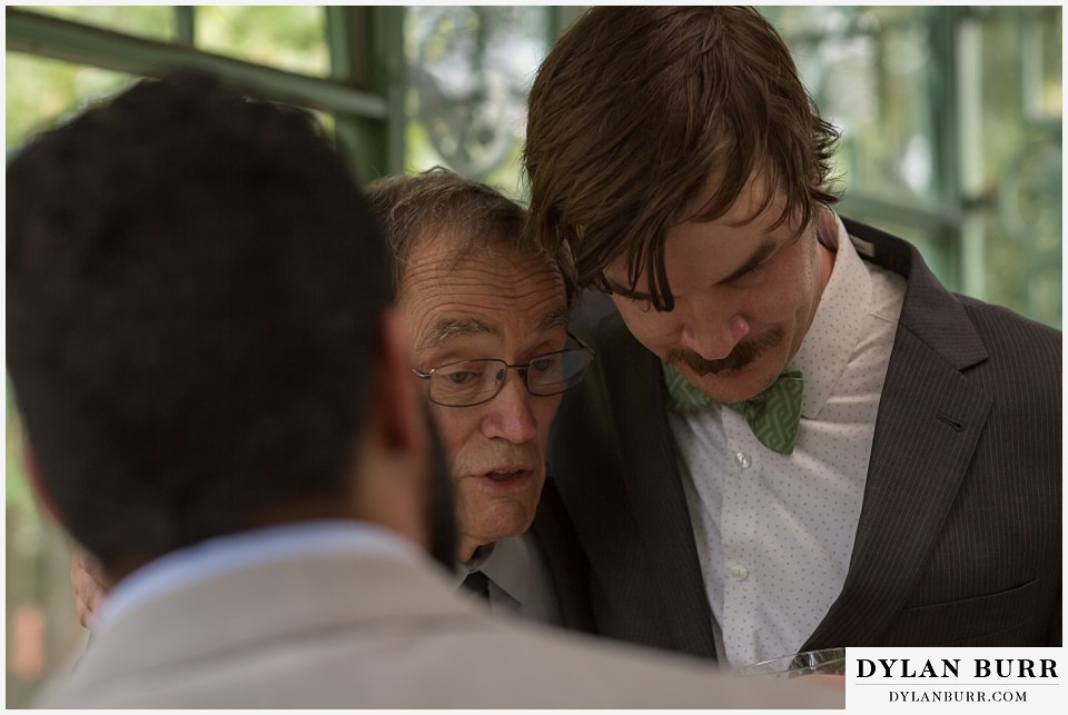 denver botanic gardens wedding colorado woodland mosaic groom and his father