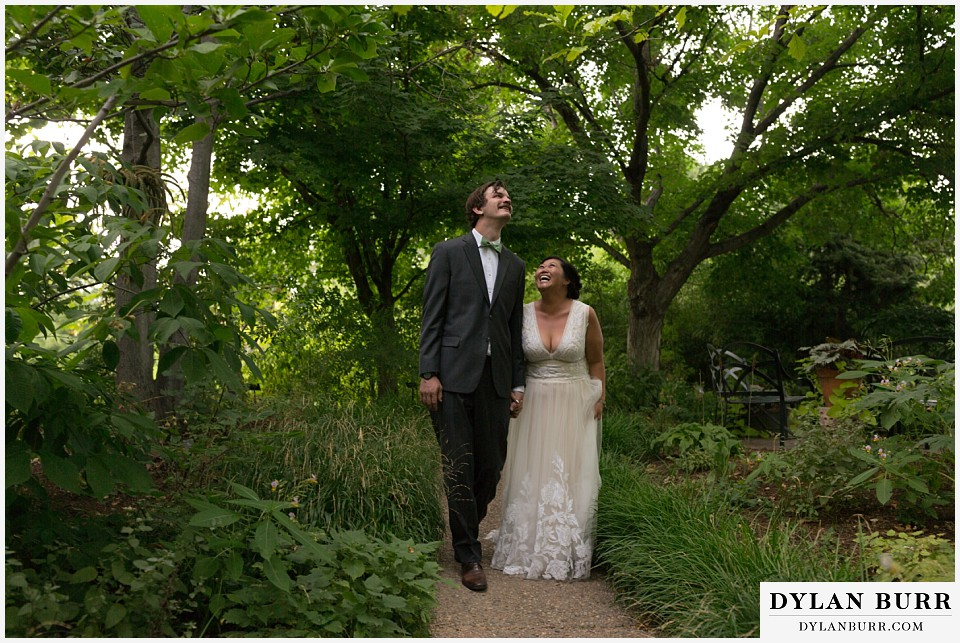 denver botanic gardens wedding colorado woodland mosaic bride groom walking enjoying the day