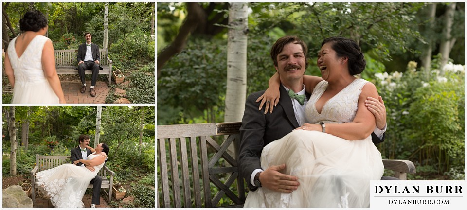 denver botanic gardens wedding colorado woodland mosaic bride groom being goofy on a bench together