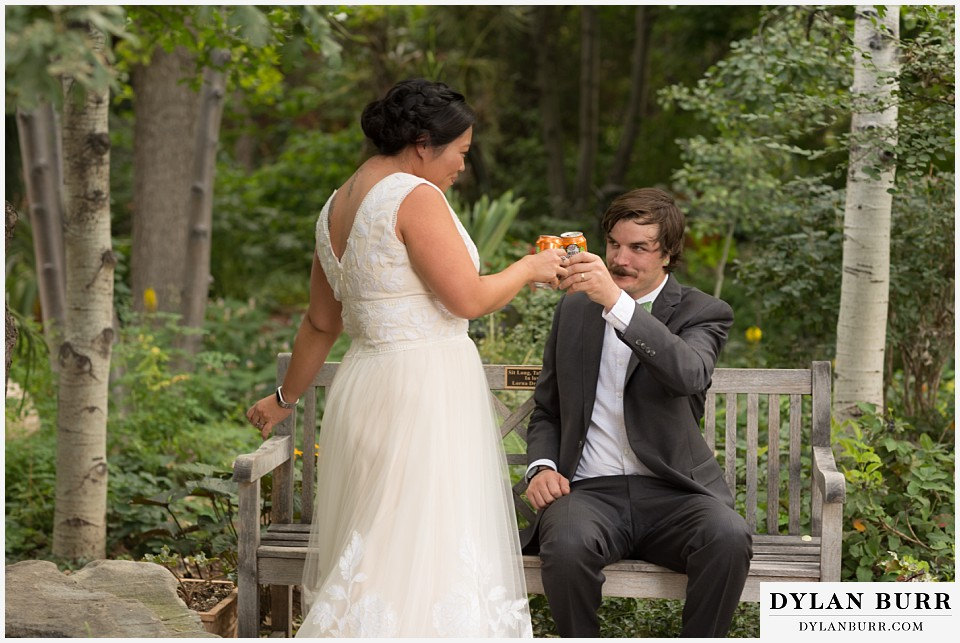 denver botanic gardens wedding colorado woodland mosaic bride groom toast with ska brewering beer
