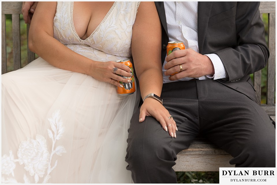 denver botanic gardens wedding colorado woodland mosaic bride groom wedding bands and IPAs