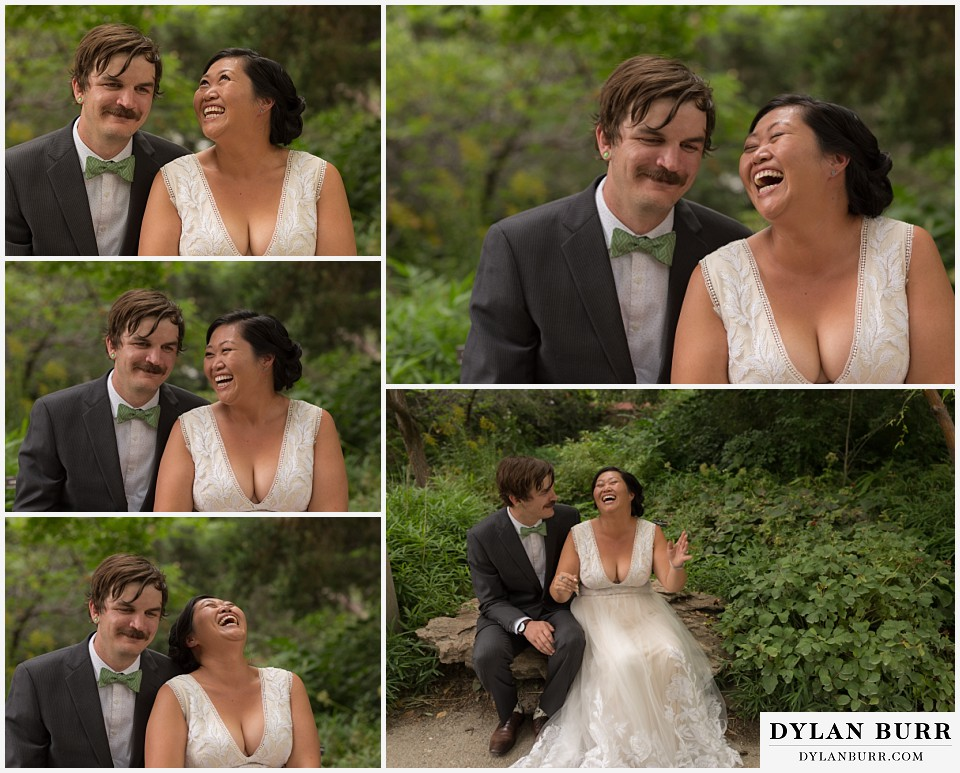 denver botanic gardens wedding colorado woodland mosaic bride groom laughing together