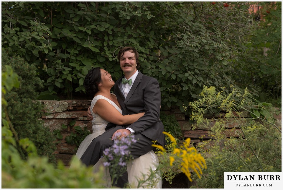 denver botanic gardens wedding colorado woodland mosaic groom sitting on his brides lap