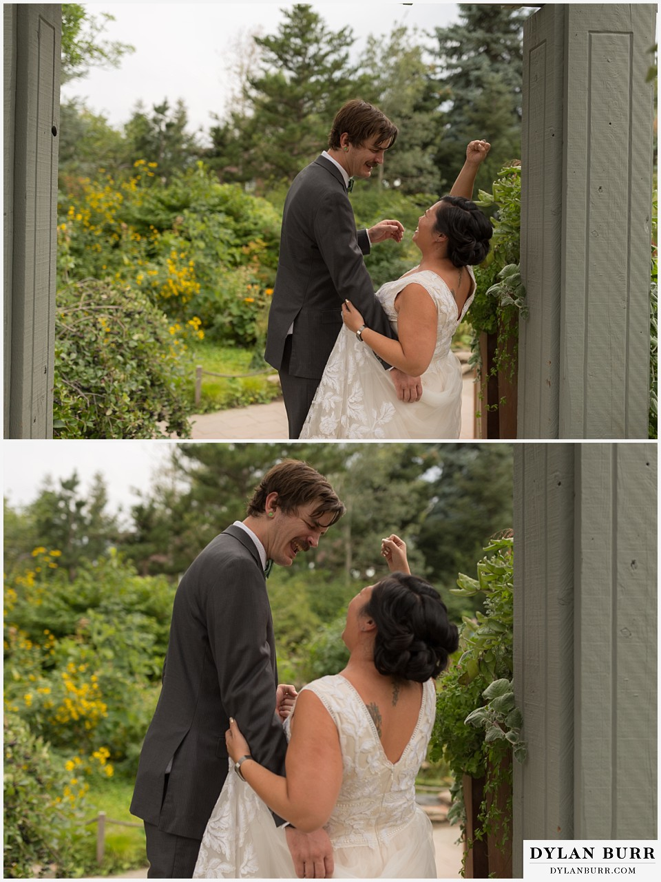 denver botanic gardens wedding colorado woodland mosaic bride groom singing together