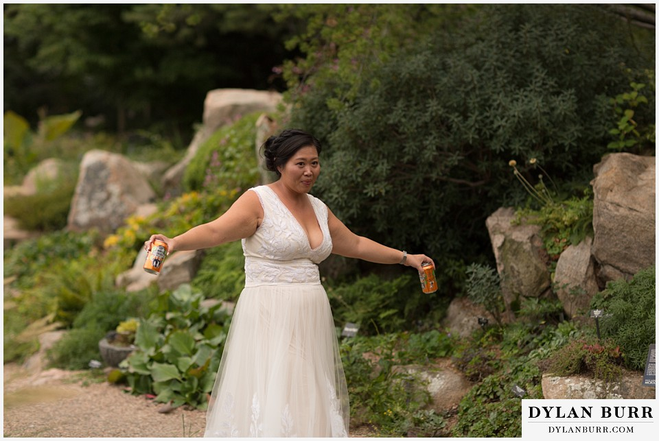 denver botanic gardens wedding colorado woodland mosaic bride bringing beers to groom