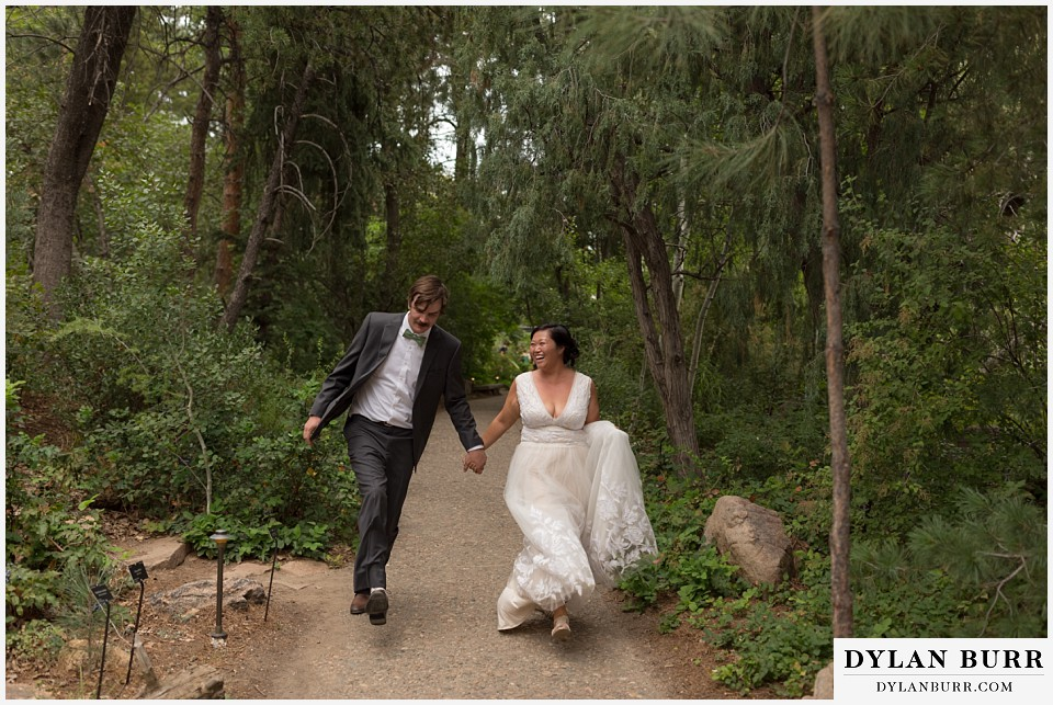 denver botanic gardens wedding colorado woodland mosaic bride groom running together