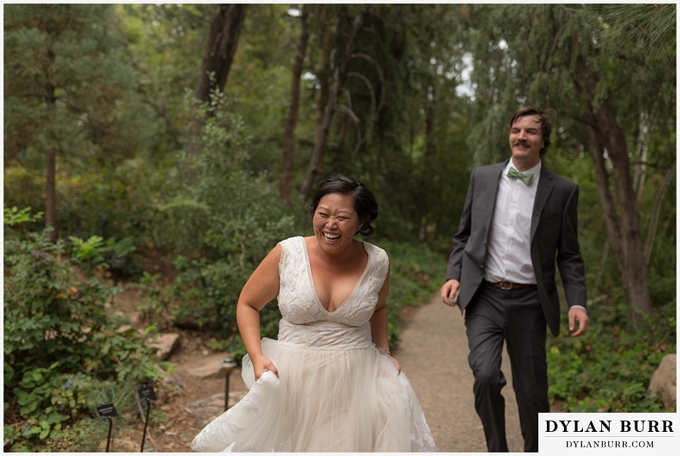 denver botanic gardens wedding colorado woodland mosaic bride groom laughing and being playful
